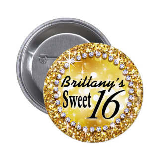 Glitz Glam Bling Sweet 16 Celebration gold brite Pinback Buttons