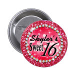 Glitz Glam Bling Sweet 16 Celebration hot pink Pinback Buttons