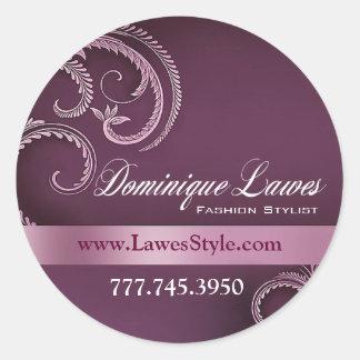"""""""Glitz Glam"""" - Classy Chic Elegant Fashion Stylist Round Sticker"""