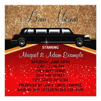Glitz Glamour Red Carpet Movie Star B'nai Mitzvah Personalized Announcement
