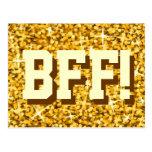 """Glitz """"Gold"""" 'BFF!' postcard"""