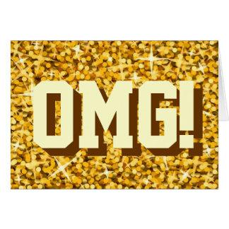 """Glitz """"Gold"""" 'OMG!' Happy Birthday greetings card"""