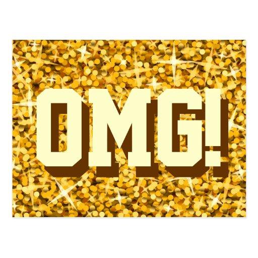 "Glitz ""Gold"" 'OMG!' postcard"