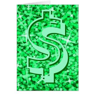 "Glitz Green dollar ""$"" 'Your Text' greetings card"