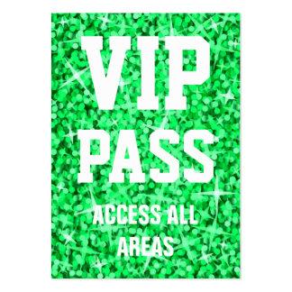 Glitz Green 'VIP PASS' business card chubby