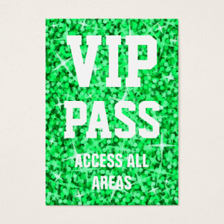 Glitz Green 'VIP PASS' business card chubby