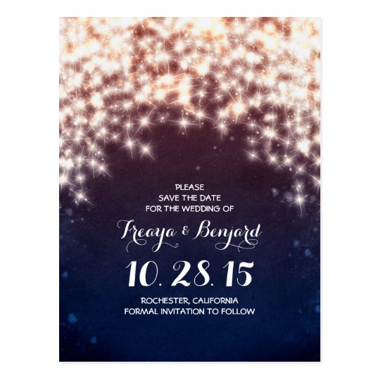Glitz of string lights save the date postcards