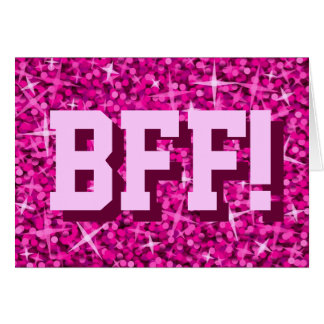 Glitz Pink 'BFF!' 'Happy Birthday' greetings card
