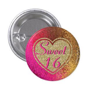 Glitz Pink & Gold Sweet 16 Button