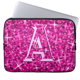 Glitz Pink 'monogram' laptop sleeve 13 inch