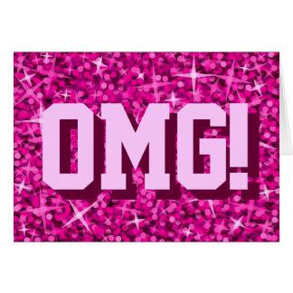 Glitz Pink 'OMG!' 'Happy Birthday' greetings card