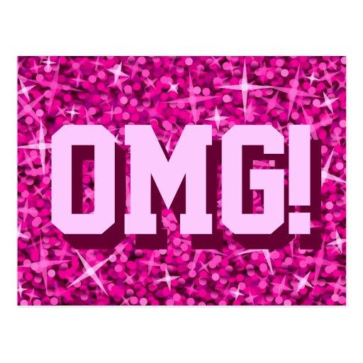 Glitz Pink 'OMG!' postcard