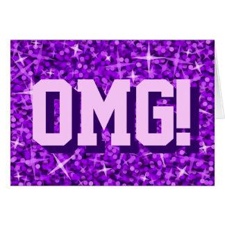 Glitz Purple 'OMG!' greetings card