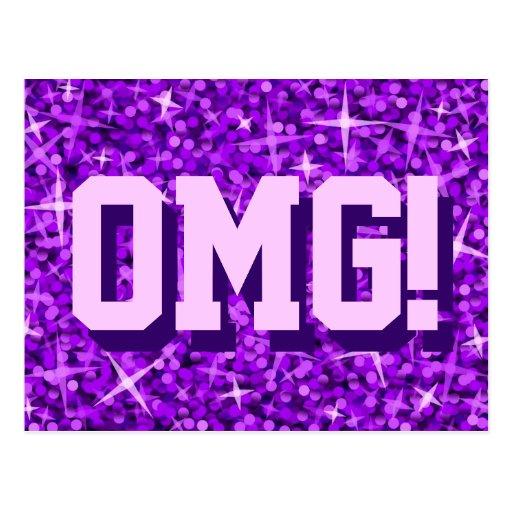 Glitz Purple 'OMG!' postcard