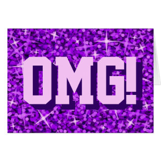 Glitz Purple 'OMG!' 'Your Text' greetings card