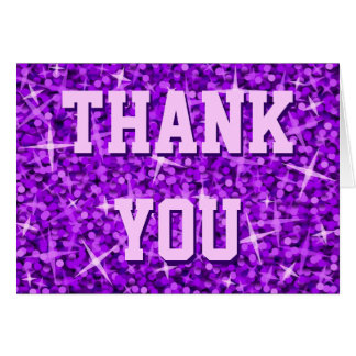 Glitz Purple 'Thank You' 'Your Text' card