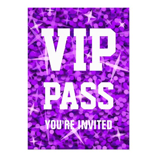 Glitz Purple 'VIP PASS' invitation