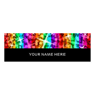 Glitz Rainbow Stripe black back skinny Double-Sided Mini Business Cards (Pack Of 20)