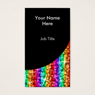 Glitz Rainbow Stripe Black Curve portrait Business Card