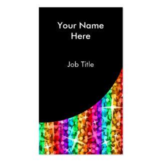 Glitz Rainbow Stripe Black Curve portrait Pack Of Standard Business Cards