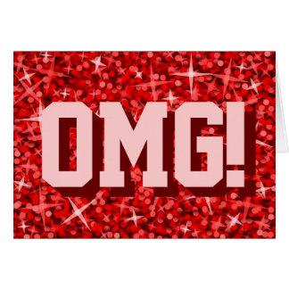 Glitz Red 'OMG!' 'Happy Birthday' greetings card
