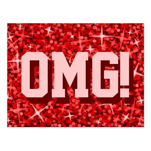 Glitz Red 'OMG!' postcard