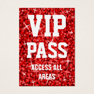 Glitz Red 'VIP PASS' business card chubby