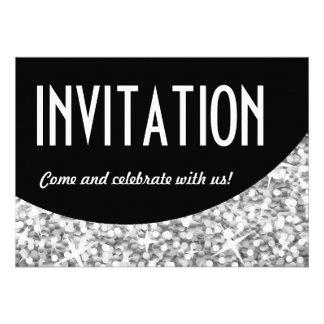 Glitz Silver black curve Invitation invitation