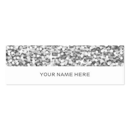 "Glitz ""Silver"" business card skinny white"
