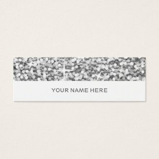 "Glitz ""Silver"" business card skinny white"