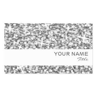 """Glitz """"Silver"""" white stripe business card template"""
