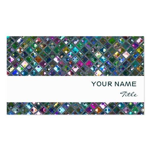Glitz Tiles Multicoloured  2 print white stripe Business Card Template