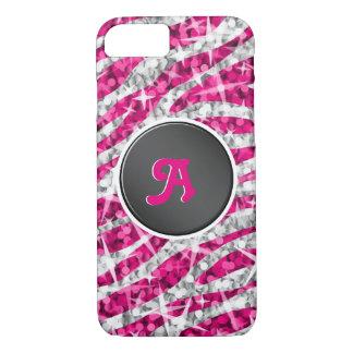 Glitz Zebra Pink monogram iPhone 7 black iPhone 8/7 Case