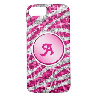 Glitz Zebra Pink monogram iPhone 7 pink iPhone 8/7 Case