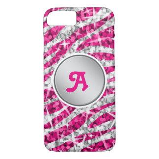 "Glitz Zebra Pink monogram iPhone 7 ""silver"" iPhone 8/7 Case"