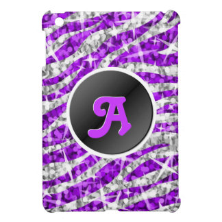 Glitz Zebra Purple faux glitter monogram mini case iPad Mini Cover