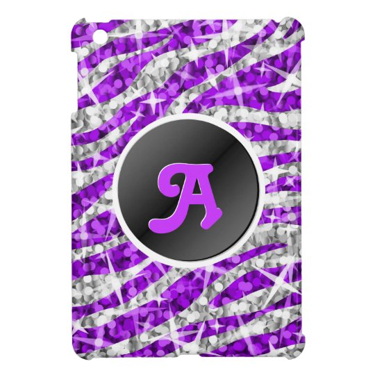 Glitz Zebra Purple faux glitter monogram mini case