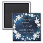 Glitzy Bridal Wreath Winter Wedding Save the Date Square Magnet