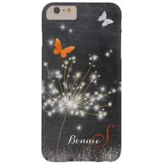 Glitzy Chalkboard Dandelion Barely There iPhone 6 Plus Case