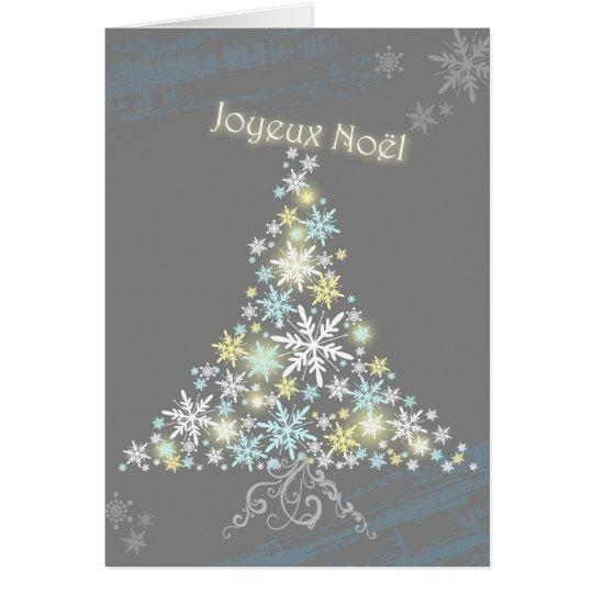 Glitzy Christmas Snowflake Tree Joyeux Noel Card
