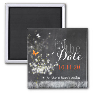 Glitzy Dandelions Chalkboard Wedding Save the Date Square Magnet