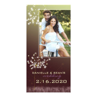 Glitzy Dandelions Wedding Save the Date Photo Greeting Card