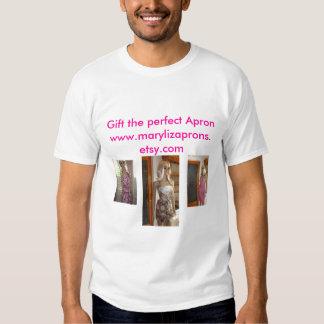 Glitzy Floral Apron 001, Vintage Brown, Red & W... Tshirts