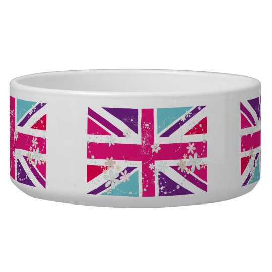 Glitzy Girly Union Jack Pet Bowl