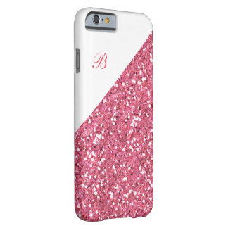 Glitzy Glitter Monogram Barely There iPhone 6 Case
