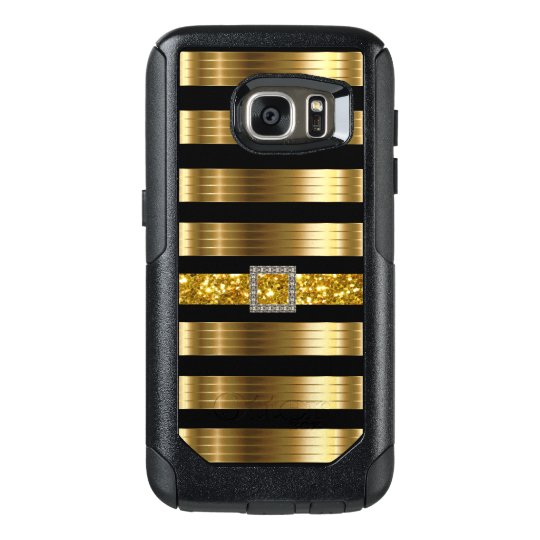 Glitzy Gold And Black Bling Style OtterBox Samsung