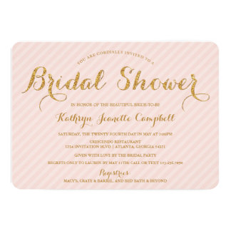 Glitzy Gold Glitter Bridal Shower Invite - Blush