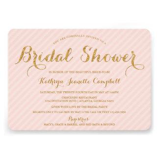 Glitzy Gold Glitter Bridal Shower Invite - Blush