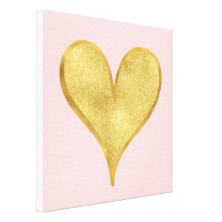 Glitzy Gold Heart Canvas Print