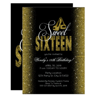 Glitzy Gold Sweet 16 Party Invitations